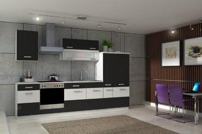 k che fabienne 310 cm k chenzeile in schwarz wei k chenblock variabel stellbar von k chen. Black Bedroom Furniture Sets. Home Design Ideas