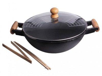 wok gusseisen 35 cm guss eisen test. Black Bedroom Furniture Sets. Home Design Ideas